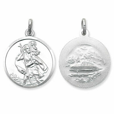 Sterling Silver St Christopher Pendants 24mm Ingot Travel Or Free Engraving Box • 5.99£