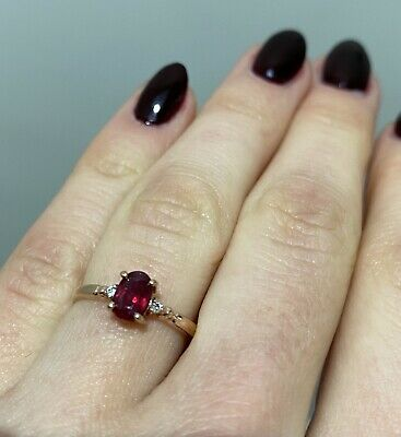 9ct Rose Gold Ruby And Diamond Engagement Ring Size N • 135£