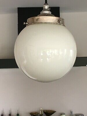 Vintage 7  White Opaline Milk Glass Globe Lampshade For 3.75  Gallery • 15£