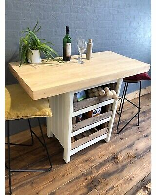 A Wooden Solid Pine Kitchen Island Handmade Breakfast Bar Table Unit • 295£