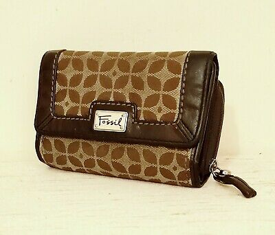 Fossil Brown Leather & Logo Jacquard Purse • 14.99£
