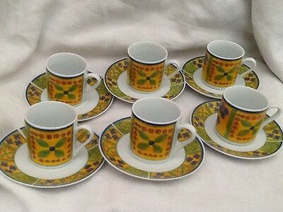 Set Of 6 French Style Coffee Cups In Box Porcelaine Demi Tasse • 13£