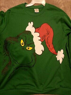 $12.99 • Buy The Grinch Green In A Santa Hat Christmas Sweater Mens XL 46-48
