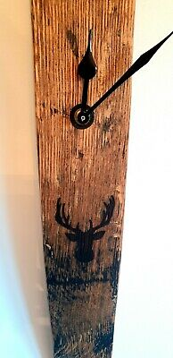 Wall Clock - Solid Oak Whiskey Barrel Stave Wall Clock With Stag Silhouette  • 40£