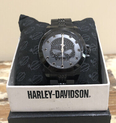 BULOVA Harley-Davidson Black Skull Swarovski Crystal WATCH 78L120 Non Working • 82.43£