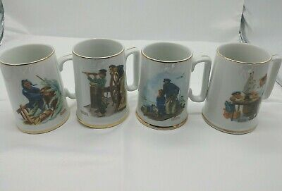 $ CDN24.15 • Buy Vintage Norman Rockwell Coffee Cups Mugs Museum Collection 1982 Set Of 4
