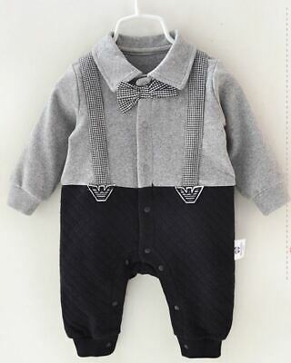 Top Quality Baby Boy Grey Romper Suit Outfit Birthday Gift Formal Smart 3-18mths • 11.99£