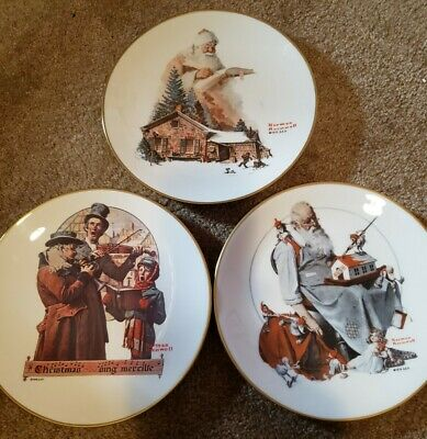 $ CDN9.81 • Buy Norman Rockwell Gorham China 75 76 79 Christmas Trio Santa Helpers Deads Plates