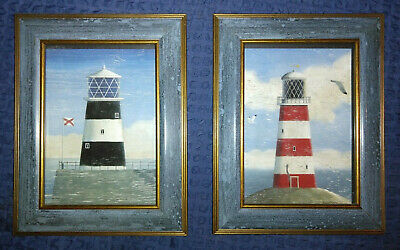 2 Vintage Pictures Frame Red Blue Lighthouse Beach Bathroom Seaside Nautical 8  • 12.99£