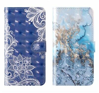 3D Vision PU Leather Wallet Case Flip Cover Card For Phones Sea Wave Lace Blue • 4.99£