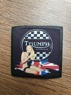 TRIUMPH MOTORCYCLES BRITISH CAFE RACER PIN UP GIRL BONNEVILLE BIKER Sew On Patch • 4.50£