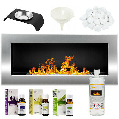 £111.77 • Buy BIO ETHANOL FIREPLACE WALL MOUNTED 900x400 ECO FIRE BURNER Silver + ACCESSORIES