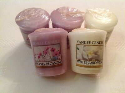 Yankee Candle Votive Samplers X5 Honey Blossom And White Gardenia. Hard To Find. • 4.40£