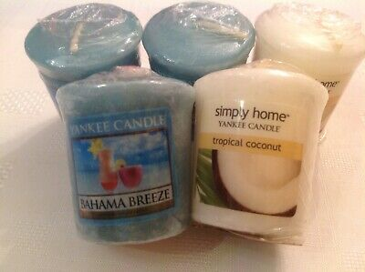 Yankee Candle Votive Samplers X5. Bahama Breeze X3, Tropical Coconut X2 Rare. • 3.10£