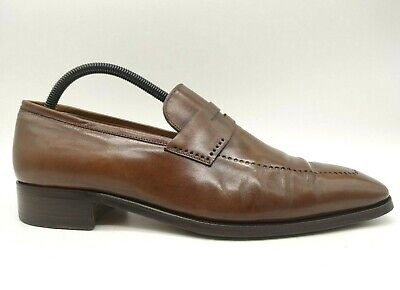 $ CDN124.88 • Buy Artioli Italy Brown Leather Handmade Penny Loafers Shoes Mens 9.5 UK / US 10.5 D
