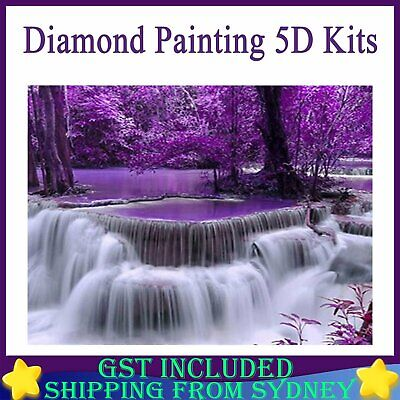 AU7.99 • Buy Purple Waterfall Diamond Painting 5D Kits Full Drill Embroidery Decor DIY Gifts