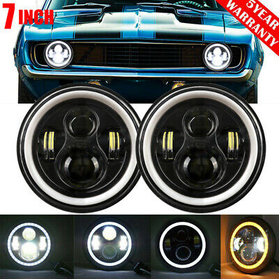 AU73.99 • Buy 7'' Round LED Headlights  Ring DRL Hi/Lo Beam For Chevrolet G10 20 30 C10 20