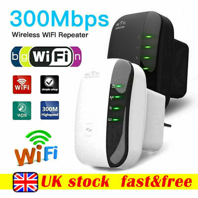 UK Plug WiFi Signal Booster Repeater Extender Range Network Wireless Amplifier • 12.99£