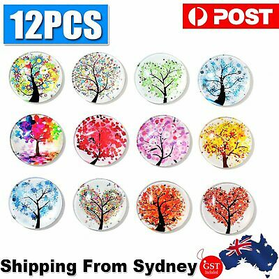 AU7.33 • Buy 12 Pcs Fridge Magnets Tree Of Life Glass Stickers Whiteboard Decoration For Home