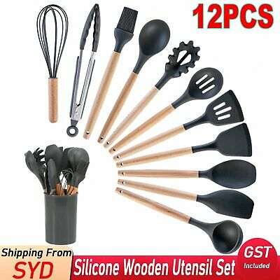 AU32.99 • Buy 12Pcs Silicone Utensils Cooking Kitchen Set Wooden Baking Cookware Cookware Tool