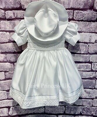 £28 • Buy Baby Girls 2 Piece Set White Lace Trim Christening Dress With Hat Occasion Wear