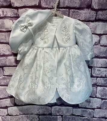 £32 • Buy Baby Girls 3 Piece White Christening Dress With Coat And Hat Party Occasion Wear