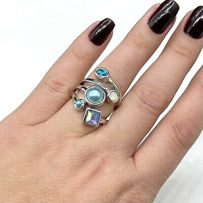 $ CDN30.05 • Buy NEW Lia Sophia Silver Tone Blue Comet Crystal Faux Pearl Statement Ring Sz 6