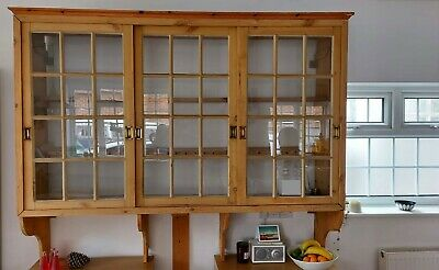 Vintage Pine Wall Unit With Glass Doors. Living Room/kitchen. Great Capacity! • 150£
