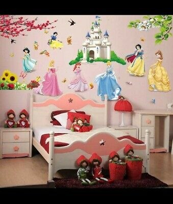 Lovely Castle Princess Wall Stickers For Kids Room Height Measure • 8.99£