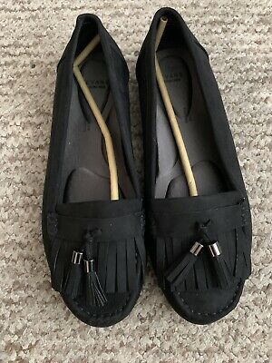 Evans Size UK 7 EEE Black Comfort Tassel Loafers Faux Suede Extra Wide Fit Shoes • 5.75£