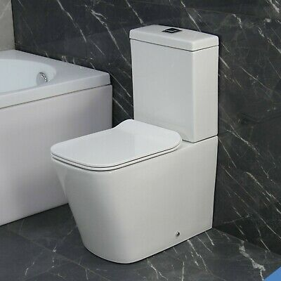 Toilet WC Close Coupled Rimless Square Compact Slim Soft Closing Seat RT63 • 159.99£