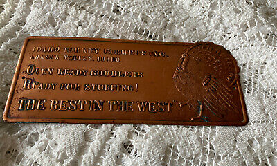 Vintage Idaho Turkey Farmers Inc The Best In The West, Copper Sign Plaque • 25£