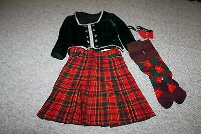 £138.11 • Buy 4-Pc Red Green Piper Kilt Size 8/10 Green Jacket Hose Flashers Highland Dance
