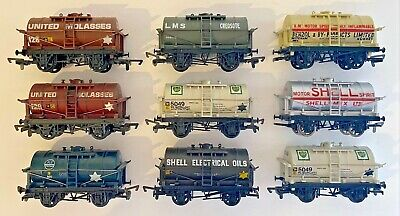 Mainline/dapol 00 Gauge - Rake Of 9 Assorted 14t Tank Tanker Wagons Unboxed • 69.99£