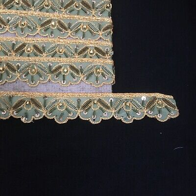 £10 • Buy 9. 3Mts (10yds)Tasteful Pale Green With Sequins Braid Haberdashery Sewing Craft