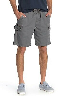 New Mens TRIPLE FIVE NYC SOUL Slate Ardoise Cotton Solid Cargo Shorts W30 RRP$55 • 18.99£