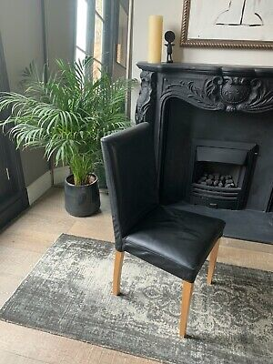£395 • Buy Conran Black Leather Dining Chairs (6 Matching), Solid Beech Legs Good Condition