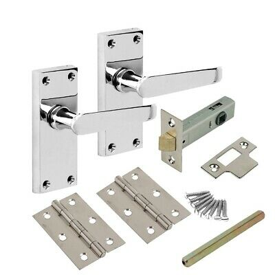 £10.50 • Buy Internal Polished Chrome Door Handles Lever Latch With Hinges And Tubular Latch