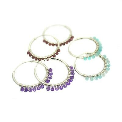 Hoop Earrings Sterling Silver Hoops Gemstone Beads Gift Bag • 17.95£