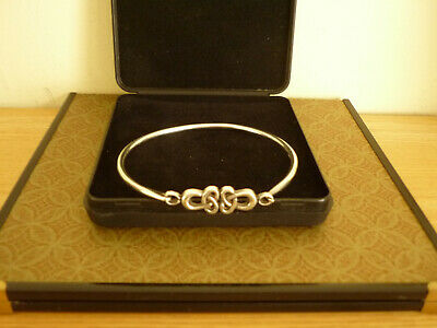 Sterling Silver (925) Celtic Knot Fully Hallmarked Bangle, 8  Wrist. • 17.50£