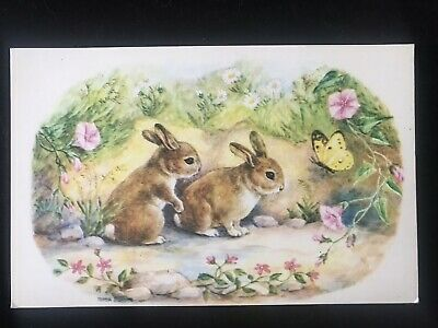 VINTAGE MEDICI Postcard: FIRST BUTTERFLY By TRUDA MORDUE RABBITS  • 1.25£