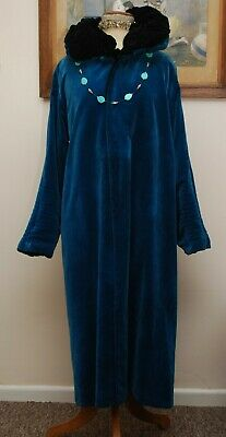 Stunning Antique Reversible Blue/Black Handmade Velvet 1920s Opera Coat Size M • 275£