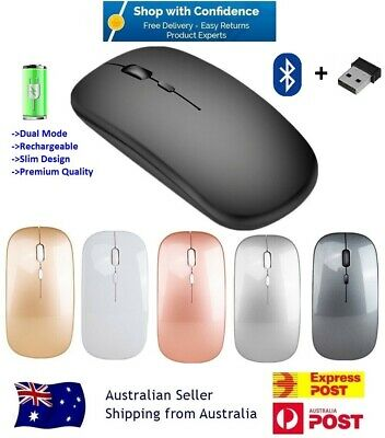 AU15.45 • Buy Wireless Bluetooth 5.1 Dual-Mode Slim Rechargeable Mouse For Laptop Mac IPad
