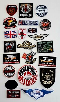 22 X Motorcycle Sew On Cloth Badges Incl Triumph & Isle Of Man TT Races Badges • 30£