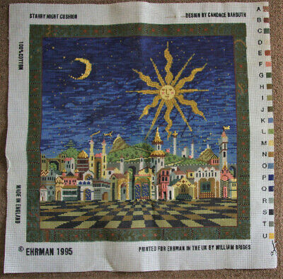Ehrman Needlepoint Tapestry - Starry Night (canvas Only - Started) • 21£