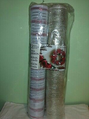 Kirkland CHRISTMAS Mesh RIBBON Red White Gold WIRE EDGED Wreath DECORATION 20 Y • 17.99£