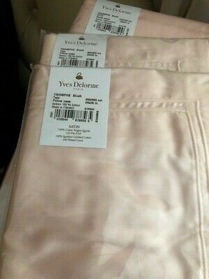 YVES DELORME TRIOMPHE BLUSH SATIN Duvet Cover Set KING LUXURY • 199.99£