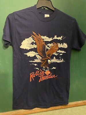 $ CDN52.20 • Buy Vtg NOS 1987 Harley Davidson Rolling Thunder T Shirt Eagle Made In USA Biker M