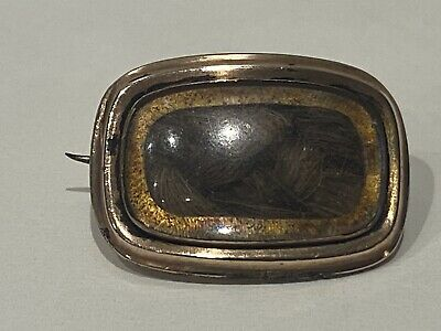 Antique Victorian 9CT Gold Cased Mourning Hair Brooch • 2.20£
