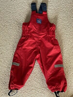 JoJo Maman Bebe Waterproof Dungarees 12-18 Months Red - Immaculate Condition • 5£